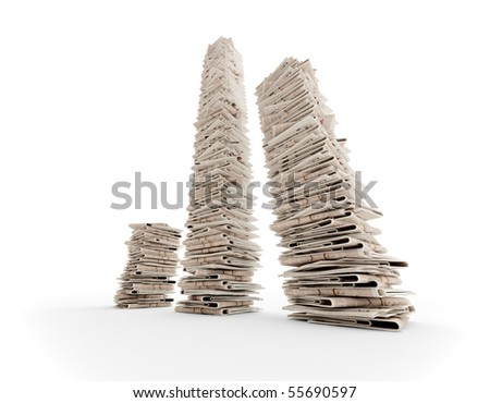 three isolated newspaper towers (3D rendering)