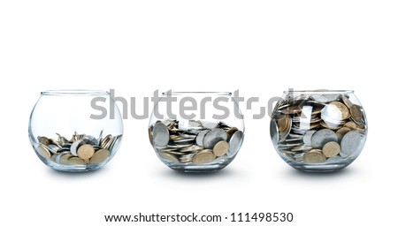 Three jar of coins like a diagram
