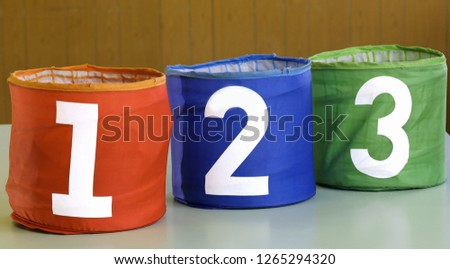 three jars for toys with numbers one two three #1265294320