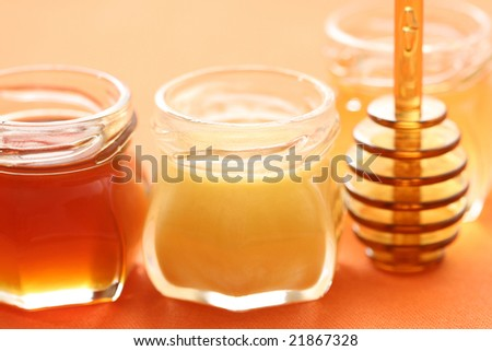 three jars of sweet honey - food and beverages