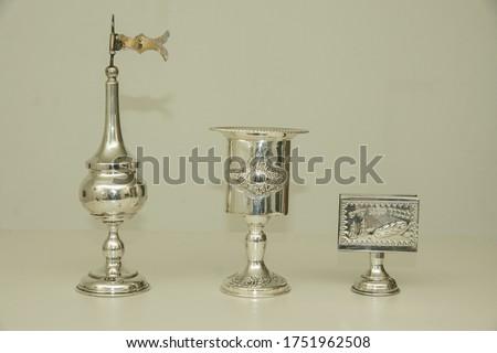 Three Jewish service items, with decorations, for Havdalah Saturday Kiddush ceremony Stok fotoğraf ©