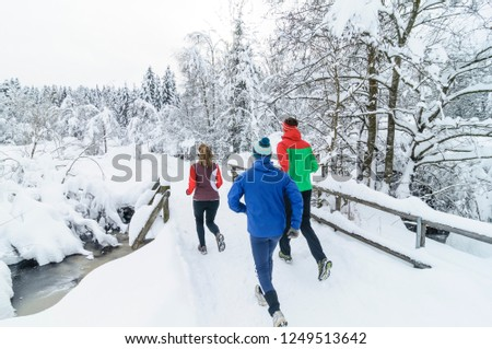 three joggers during running workout in wintry nature #1249513642