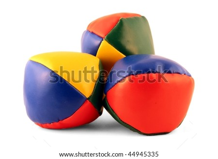 Three juggling balls isolated on pure white