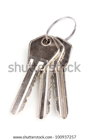 Three keys on metal ring isolated on white