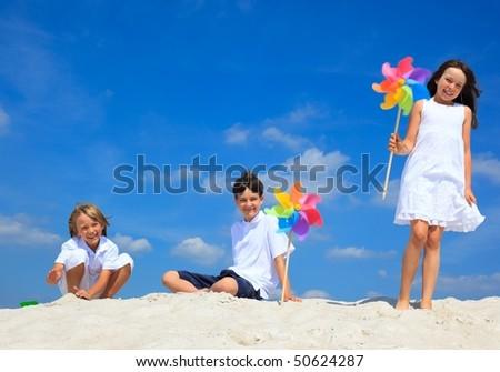 Three kids on beach