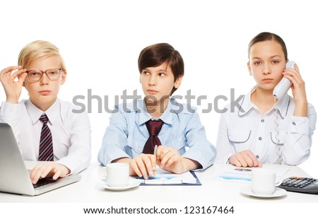 Three kids pretending to be adults wearing formal shirts with ties and doing white-collar job