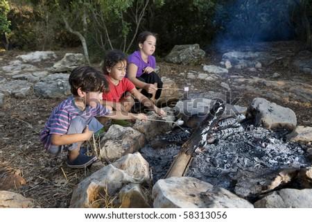 Three kids roasting marshmallows at a campfire