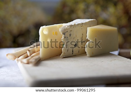Three kinds of french cheese and Grissini breadsticks