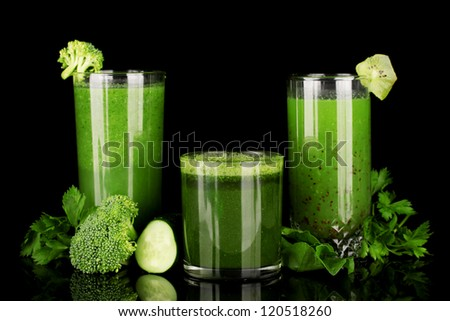 Three kinds of green juice isolated on black