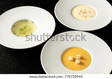 Three kinds of soup, Vichyssoise Consomme(clear), potage #770720944