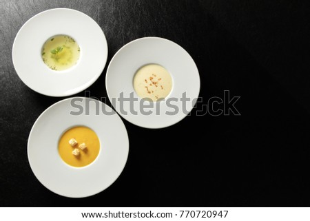 Three kinds of soup, Vichyssoise Consomme(clear), potage #770720947