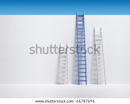 Three ladder leaning the wall - 3d render illustration - stock photo