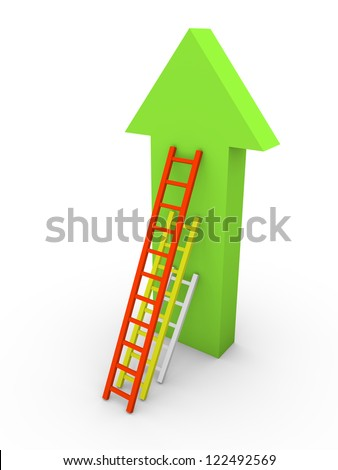 Three ladders with different length leaning the arrow. 3d rendering.