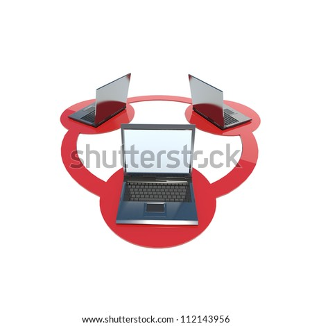 three laptops connected