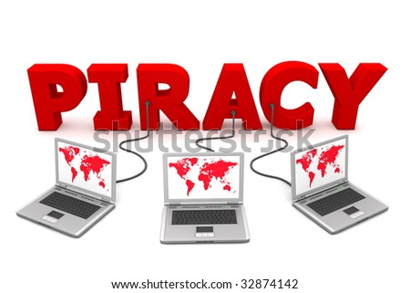 three laptops with a red world map connected to the red 3D word PIRACY - stock photo