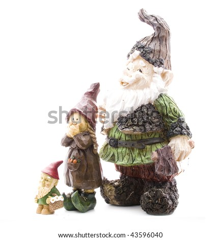Three Lawn Gnomes on White Standing from Short to Tall