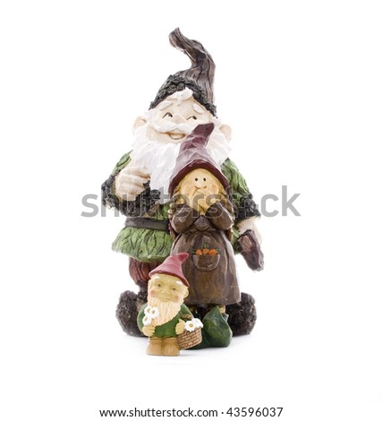 Three Lawn Gnomes Standing in Formation on White