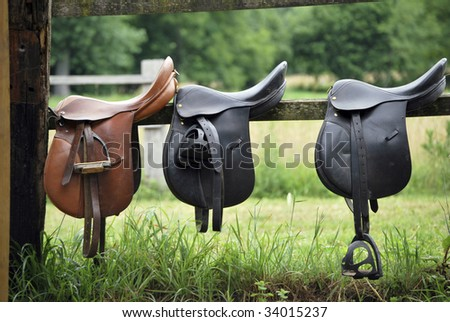 Three leather saddles ready to put on the horseback