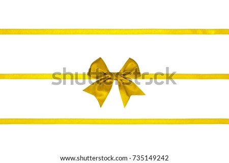 Three lemon yellow silk ribbons with bows on white background