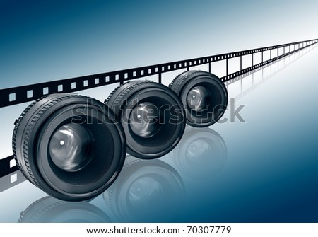 three lens and film strip on blue background