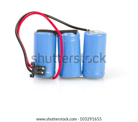 Three lithium batteries  on white background