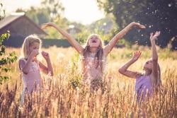 Three little girl enjoying life