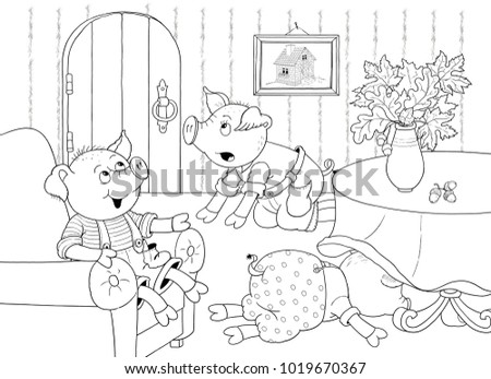 Coloring Book Page Cute And Funny Outline Of Cartoon Squirrel