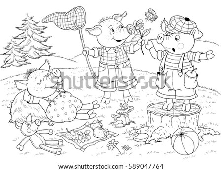 Three little pigs. Page one. Fairy tale. Cute pigs. Coloring page ...
