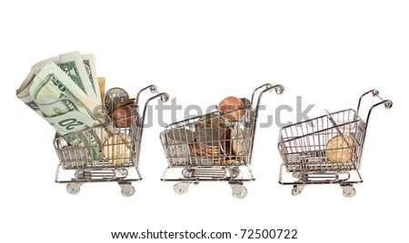 Three little shopping trolley full and empty after spending all the money
