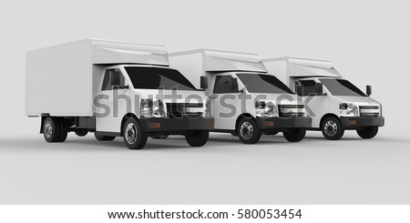 Three little white truck.. Car delivery service. Delivery of goods and products to retail outlets. 3d rendering #580053454