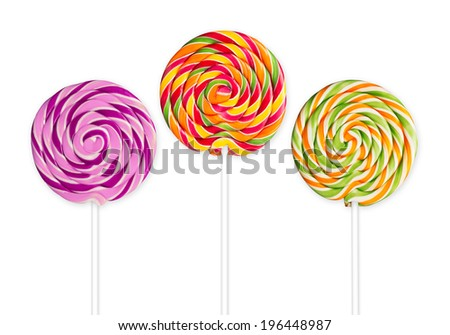 three lolly pops in front of white background