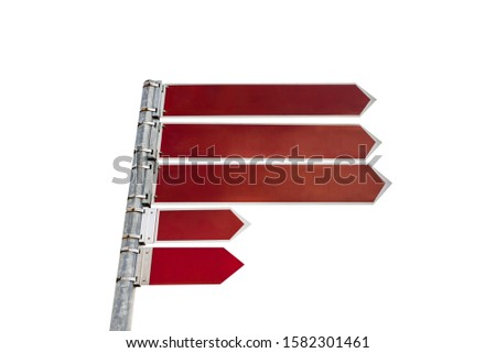 Three long and two short brown signs hung on a metal pole showing direction to the right, isolated on a white background with a clipping path.