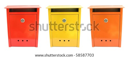 Three lovely mailboxes red yellow orange #58587703