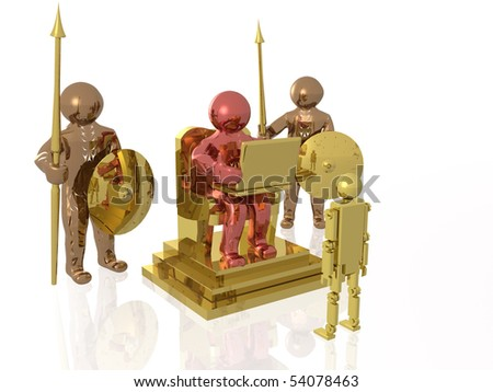 Three mans and robot on white reflective background.
