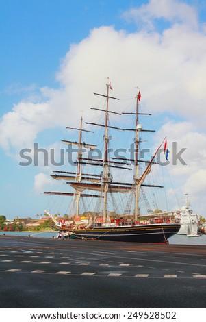 Three-mast sailing vessel in port. Fort-de-Frans, Martinique