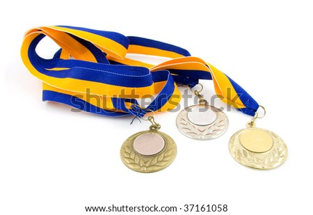 Three medals: gold, silver and bronze, isolated on white background