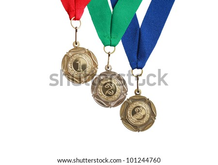 Three medals with colored ribbons isolated on white background with clipping path