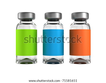 Three medical ampules isolated over white