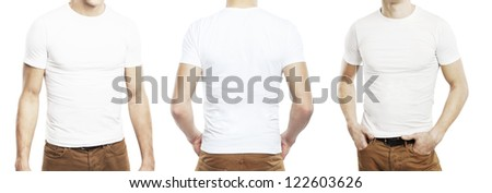 three men in T-shirt on a white background