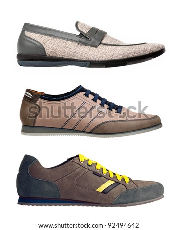 Three men shoes over white background
