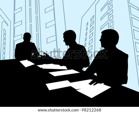 three men sitting at the table and negotiate with each other
