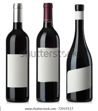 Three merged photographs of different shape red wine bottles with blank labels.  Separate clipping paths for bottles and labels included.