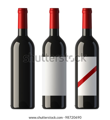 three merged pictures of bordo shape red wine bottles with blank labels and without label, 3D.