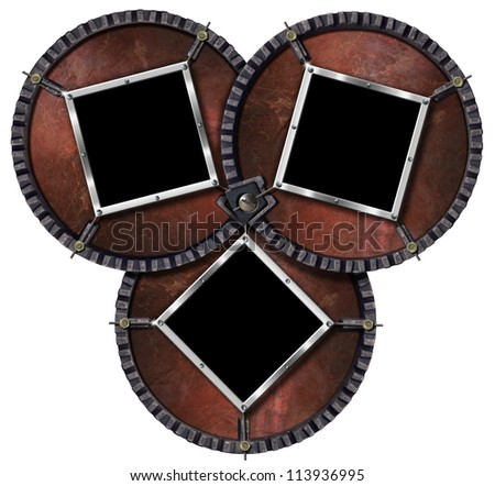 Three Metal Frames / Metal frames on three circular grunge background with metal cable and bolts