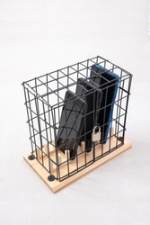three mobile phones locked in a cage with a padlock, concept of social isolation or phone abuse and social networks, white background, vertical