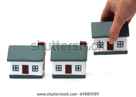 Three model homes isolated on a white background, model house
