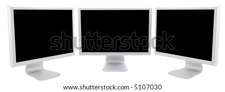 three monitors of computers  in black over a white background