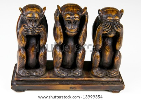 Three monkeys wooden vintage souvenir