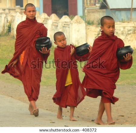 Three Monks Alms Collecting, Inle Lake, Myanmar (Burma)