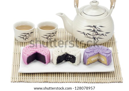 Three mooncake with tea.